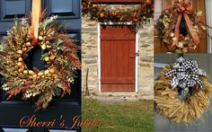 I like the bottom right burlap wreath