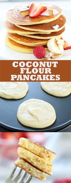 Paleo coconut flour pancakes that are light and fluffy, and made with just a few basic ingredients. A quick and easy, low carb gluten free breakfast! paleo dessert with coconut flour Coconut Flour Pancakes, Coconut Flour Baking, Coconut Oil, Low Carb Recipes, Whole Food Recipes, Diet Recipes, Coconut Flour Recipes Low Carb, Recipes Dinner, Gluten Free Breakfasts