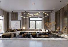 SHADES OF BEIGE on Behance Floor Design, House Design, Shades Of Beige, 3ds Max, Modern Luxury, Ground Floor, Lounge, Wall Decor, Graphic Design