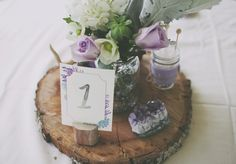 Watercolor succulent and amethyst custom table numbers by Sable and Gray Paper Co. Photo by Sassyfrass Photography.