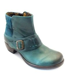 Look at this #zulilyfind! Petrol Blue Leather Mont Ankle Boot by FLY London #zulilyfinds