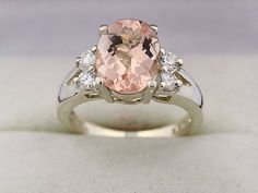 Natural Faceted cut Morganite (Pink Emerald)  Solid 14K White Gold Diamond engagement Ring