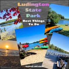 Ludington State Park: Best Things to do! Hiking, biking, kayaking, camping and beaches! Best Things to do at Ludington State Park . Rent Kayaks or Watercraft, check out the beach and boardwalk . Best State Park in Michigan, perfect for kayaking, camping, bird watching, hiking and sight seeing! #ludingtonmichigan #ludingtonmichiganthingstodo #ludingtonstatepark #ludington #ludingtonstateparkmichigan #ludingtonmi #michiganstateparks #michiganboardwalks Ludington Michigan, Ludington State Park, Lake Michigan, Michigan State Parks, Michigan Travel, Beach Camping, Go Camping, Places To Rent, Water Crafts