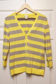 Neiman Marcus XL 100% cotton yellow & grey striped cardigan -