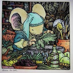 Alma the cook from Mouse Guard.#mouseguard #mouse#davidpetersen #adultcolouring #colouringbook #irojiten#pencils