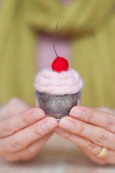 Needle Felted pink Cupcake made to order felt balls cupcake