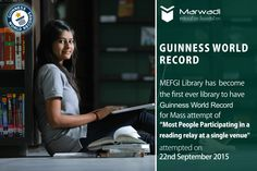 "‪#‎MEFGI‬ Library has become the First ever Library to have Guinness World Record for Mass attempt of ""Most People Participating in a reading relay at a single venue"", which was attempted on 22nd September, 2015. It had challenged the earlier record of 2012 which has been broken with 3071 participation. ‪#‎AcademicLibrary‬ ‪#‎Rajkot‬ ‪#‎GuineesWordRecord‬  ====== https://goo.gl/35tI85 ======"