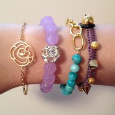 gold, purple and turquoise jewelry, arm candy