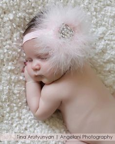 Newborn baby soft headband with Swarovski crystals, feather, soft headband, hot pink, delicate, very Dainty, Free Shipping on Etsy, $29.95