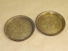 2 Vintage Solid Brass Etched Coaster or Trinket Dish Set Made in India