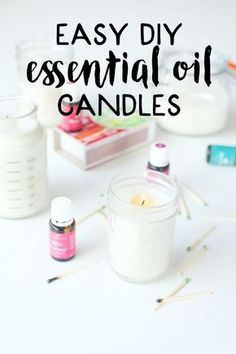 These easy diy essential oil candles are so easy to make! They are homemade are with soy and scented with essential oils then poured into mason jars. This quick and easy diy project takes about 20 minutes from start to finish…even I can make diy candles!