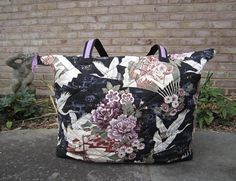 Large Quilted Tote Bag Asian Cranes Floral