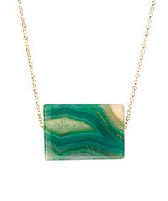 Gold & Emerald Agate Slab Pendant Necklace