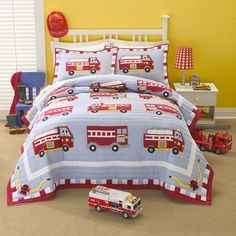 Features:  -Machine washable.  -Cotton Fire Truck collection.  Product Type: -Quilt/Coverlet set.  Style: -Traditional.  Color: -Red.  Pattern: -Graphic Print & Text.  Material: -Cotton.  Cleaning Met