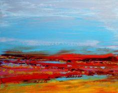 """Paisagem abstrata 'Primary Plain' - pintura acrílica sobre tela - tamanho 50 centímetros x 50 centímetros (20 """"x 20"""")"""