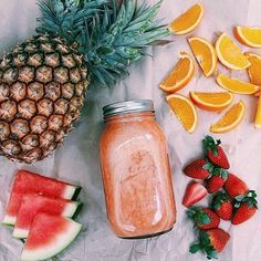 ☆ Follow us @popcherryau for more yummy food ☆ pineapple // watermelon // stawberries // oranges // juice // fruit // tropical