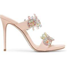 RENE' CAOVILLA   Crystal-embellished embroidered leather sandals ($510) ❤ liked on Polyvore featuring shoes, sandals, multi color high heel sandals, slip on sandals, leather slip-on shoes, strappy leather sandals and high heel shoes