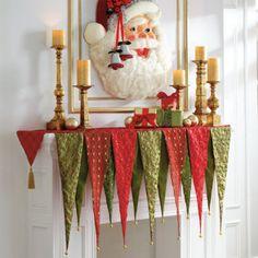 Christmas banner mantle scarf - bet I could sew this for a lot less than 60 bucks! Christmas Bunting, Indoor Christmas Decorations, Christmas Sewing, Holiday Fun, Vintage Christmas, Christmas Holidays, Whimsical Christmas, Xmas, Christmas Fabric