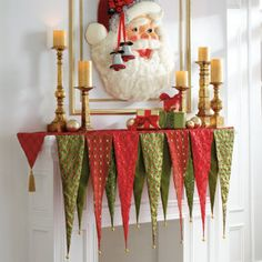 Christmas banner mantle scarf - bet I could sew this for a lot less than 60 bucks!