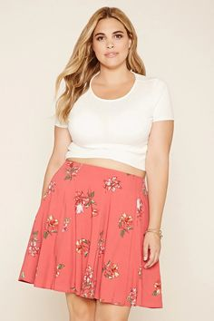Forever 21+ - A woven mini skirt with an elasticized waist and an allover floral print. #forever21plus