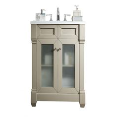 James Martin Signature Vanities Weston 30 in. W Single Vanity in Sea Gull with Quartz Vanity Top in White with White Basin