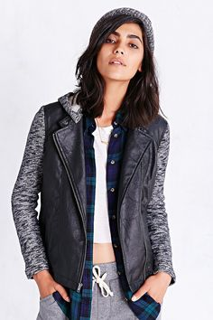 Jack Knit Mix Vegan-Leather Jacket - Urban Outfitters