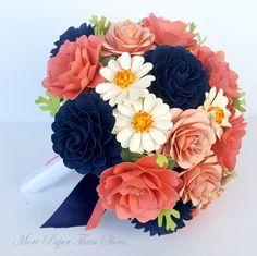 Paper Flower Bouquet - Paper Bouquet - Wedding Bouquet - Coral and Navy - Daisies - Custom Made - Any Color Crepe Paper Flowers Tutorial, Paper Flowers Craft, Flower Crafts, Flora Flowers, Paper Bouquet, Flower Bouquet Wedding, Flower Bouquets, Flower Wall, Etsy