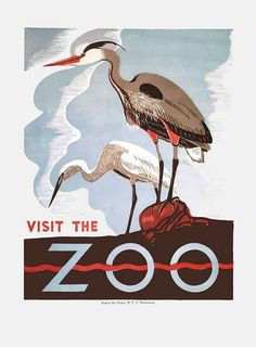 "Fun art deco advertisement to Visit The Zoo! Would be so cute in a ""vintage-y"" nursery."