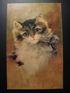 c. 1930...unused French Antique JC Color Reliëf Postcard A Cat...