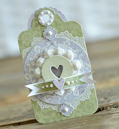 gorgeous gift tag ... pastel blue, green and white ...die cuts ... lace ... perfect pearls ... lovely!!