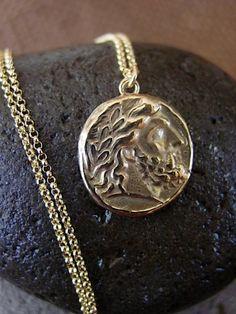 Zeus coin necklace 20 long by VisaVisJewelryLA on Etsy