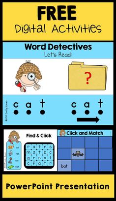 powerpoint Free CVC Digital Activities PowerPoint Presentation - practice the word family -at with interactive games. Great fun and perfect for literacy centers and stations. Word Family Activities, Kindergarten Games, Cvc Words, Word Families, Learning Resources, Literacy Centers, Teaching, Template, Phonics