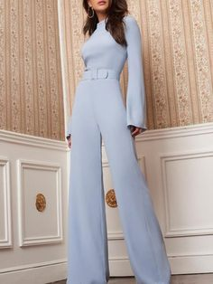 High Neck Bell Sleeve Wide Leg Jumpsuit With Belt - May 18 2019 at Trend Fashion, Look Fashion, Hijab Fashion, Fashion Dresses, Womens Fashion, Feminine Fashion, Classy Fashion, Spring Fashion, Jumpsuit Outfit Dressy