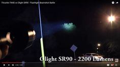 Thrunite TN40 vs Olight SR90 - Flashlight Beamshot Battle