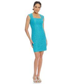 Black:Adrianna Papell Petite Cap-Sleeve Lace Sheath Dress