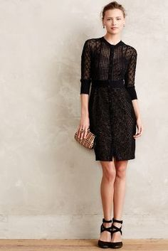 Byron Lars Mona Dress #anthropologie #black #dress #lace #sheer #professional