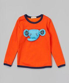 Another great find on #zulily! Orange Elephant Appliqué Sweatshirt - Infant, Toddler & Kids by Leighton Alexander #zulilyfinds