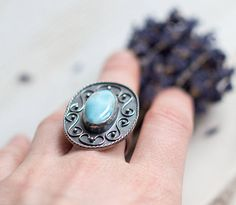 Boho ring silver Blue stone ring Wide silver ring Oval ring
