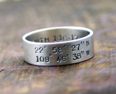 Geographical coordinates ring. Love this....would get the location of where we were married.
