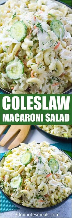 Ranch Coleslaw Pasta Salad made with creamy Ranch is the perfect summer side dish. Can be also made ahead of time.
