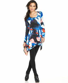Grace Elements Printed Handkerchief-Hem Tunic Top watercolor(blue/red/white) rayon/spandex (33.59) NA 10/15