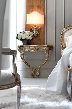 Italian Silver Leaf Rococo Wall Mounted Bedside Table at Juliettes Interiors, a large collection of designer Italian Classical Furniture. Luxury Bedroom Furniture, Bedroom Decor, Furniture Design, Wall Mounted Bedside Table, Console Table, Parisian Chic Decor, Interior Exterior, Interior Design, Dressing Design