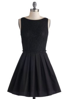 Where to Tonight? Dress - Black, Solid, Lace, Pleats, Party, Fit & Flare, Sleeveless, Better, Boat, Wedding, Cocktail