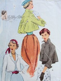 Late 40s Stunning Flared Back Coat Cropped Jackets Pattern McCall 7664 Vintage Sewing Pattern Eye Catching Wing Collar Version Very Chic Sty...