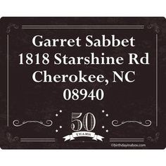Vintage Dude 50 Personalized Address Labels (Sheet of 15)