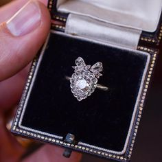 Antique Edwardian Diamond Bowed Heart Ring in Platinum, Circa 1910 Edwardian Jewelry, Antique Jewelry, Vintage Jewelry, Diamond Bows, Diamond Rings, Tiffany Jewelry, Jewelry Rings, Heart Ring, Wedding Rings