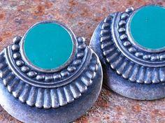 Ethnic Turquoise Concho Earrings