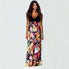 Sexy / Fritid / Strand Shift Blomstret / Lapper Dress Kvinner Maxi V-hals Chiffon 4002750 2016 – kr.114
