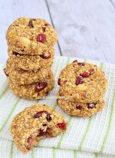havermout banaan koekjes - Laura's Bakery Healthy Baking, Healthy Recipes, Cereal, Muffin, Paleo, Brunch, Good Food, Vegan, Cookies