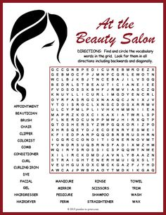 Use this beauty salon word search worksheet to introduce or reinforce a unit with your ELA or ESL students. Kids Word Search, Word Search Puzzles, Word Puzzles, Vocabulary Worksheets, Vocabulary Words, Opposites Worksheet, Free Printable Puzzles, English Exercises, English Worksheets For Kids